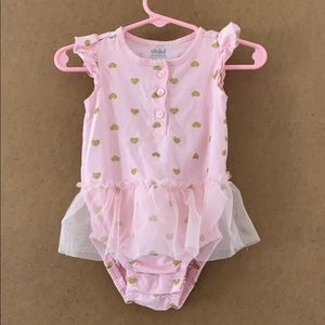 6-9 months Pink with gold glitter hearts dress